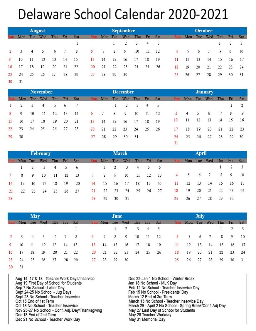 Delaware School Calendar