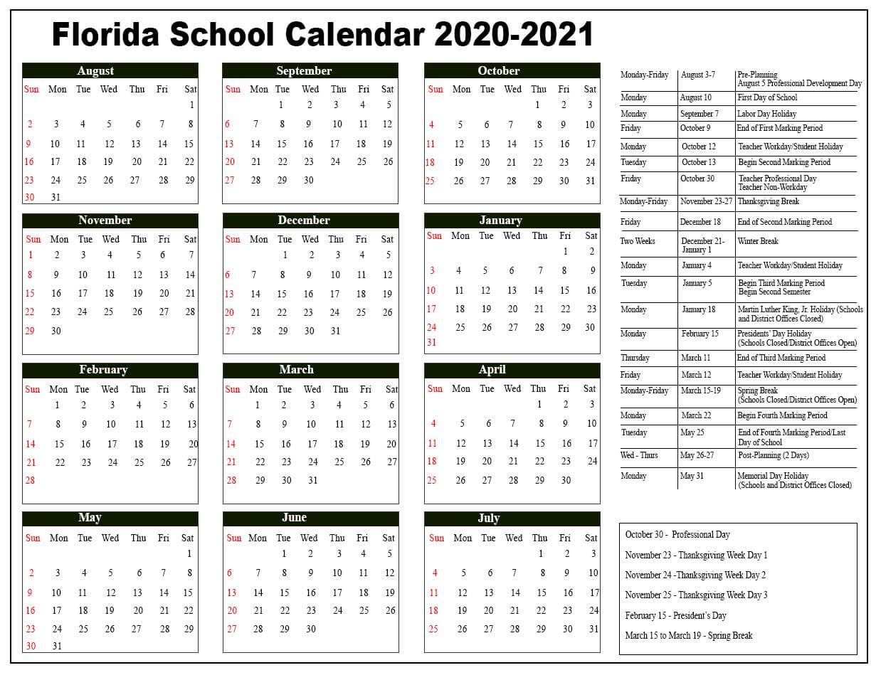 Florida Public School Calendar 2020 – 2021