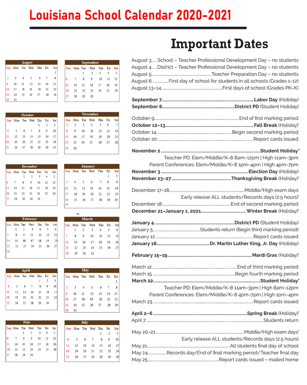 Louisiana School Calendar 2020