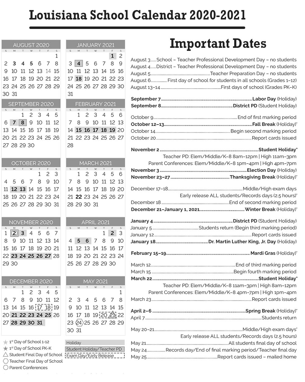 Louisiana School Calendar