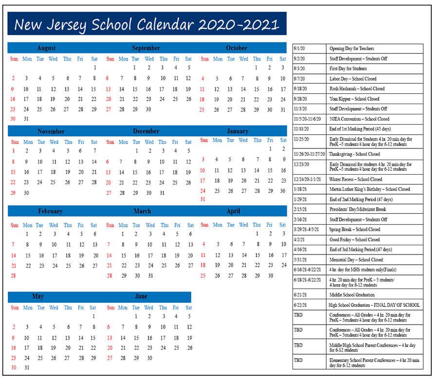 New Jersey Calendar 2020- 2021